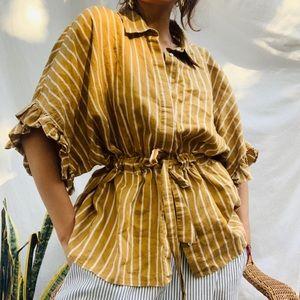 Zara woman striped Ruffled Blouse